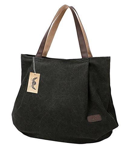 PB-SOAR Damen XXL Vintage Canvas Shopper Schultertasche Handtasche Beuteltasche Freizeittasche (Schwarz)