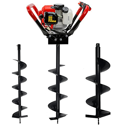 V-Type 55CC 2 Stroke Gas Posthole Digger One Man Auger (Digger + 6'' 8'' 10''Bits) by XtremepowerUS