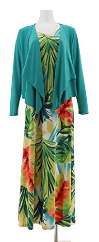 Attitudes Renee Printed Maxi Dress Cardigan Teal Watercolor L New A306555 from Attitudes by Renee