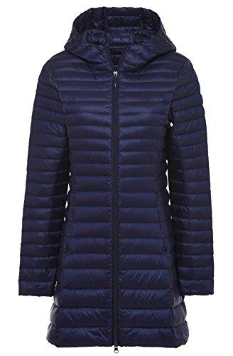 Chouyatou Women's Hooded Full-Zipper Lightweight Packable Down Anoraks Jacket Dark Blue
