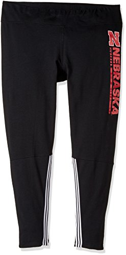 adidas NCAA Nebraska Huskers Adult Women Vertical Team bar Cotton Leggings, Small, Black ()