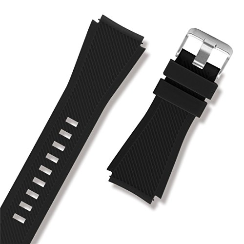 Diruite 22mm Classic Silicone Strap Band for Fossil Q Explorist HR Gen 4 / Fossil Q Explorist Gen 3 / Fossil Q Wander, Marshal Gen 2 Smartwatch Band Strap - Black