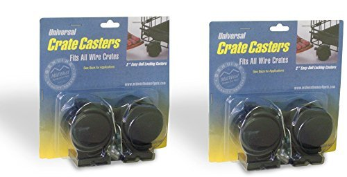 MidWest Universal Crate Casters - 4 Total Casters (2 Packs with 2 per Pack) by MidWest Homes for Pets