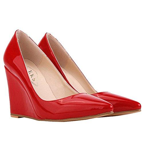 EKS - Zapatos de vestir para mujer 46 Rojo