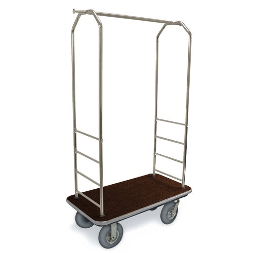 csl-2099gy-020-stainless-steel-finish-bellmans-cart-with-rectangular-brown-carpet-base-gray-bumper-c