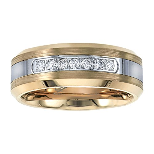 Mens Diamond Wedding Band in Yellow Tungsten Carbide (0.20ct, H-I, I2) (Wedding Bands For Men Diamond)