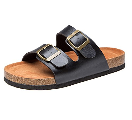 Damen / Herren Sandalen Zehentrenner Erwachsene Softfootbed Pantoletten Kork Sandalen Flache Hausschuhe 41 schwarz weiß Uus9koT5x9