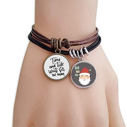 DIYthinker Time and Tide Wait for No Man Quote Santa Claus Bracelet Leather Rope
