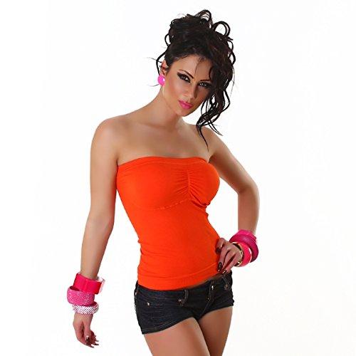 Katia Fashion Mujer Bandeau Top canalé naranja