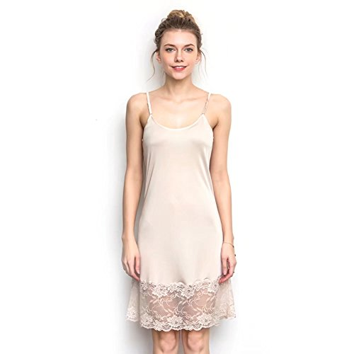 Zylioo 100% Mulberry Silk Long Spaghetti Strap Full Slips Dresses Lace Comfy Slim Fit Camisole Under Dress Liner