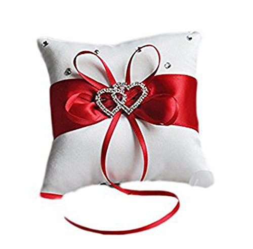 Hosaire Ring Pillow Bow Diamond Double Heart Shaped Wedding Decoration (Red)