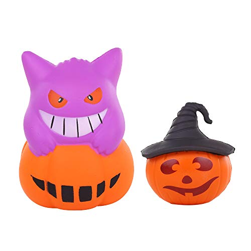 Anboor Squishies Pumpkin with Hat and Demon Kawaii Slow Rising Scented Squishies Stress Relief Kid Toys Halloween Decorative Props Gift,2 Pcs