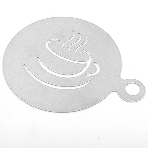 OUBORUI Stainless Steel Coffee Pattern Template Cappuccino Plate Coffee Gadgets