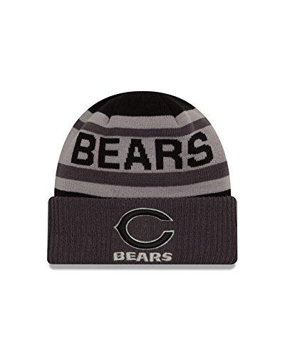 (New Era NFL Chicago Bears Unisex NFL Black & Gray Biggest Fan 2.0 Cuff Knit Beanie, Black/Grey,One Size)
