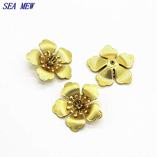 Laliva Accessories - 29mm Metal Copper Flowers Base Setting Raw Brass Filigree Flowers Tray Connectors for Jewelry Making - (Size: Raw ()