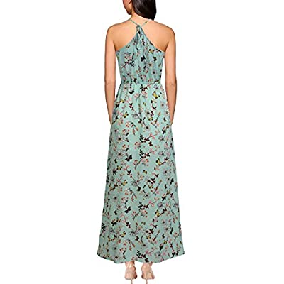 REPHYLLIS Women Sexy Split Halter Sundresses Chiffon Wedding Party Maxi Dress at Women's Clothing store