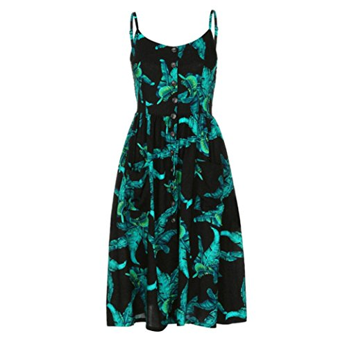 Boutons Paule Femme Longue Plage Casual Sundress Backless Spaghetti Maxi Cou Imprime Robe Princesse LONUPAZZ Robe Manches Noir Sangle V sans AYxFqY0n