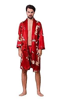 Oeak Men's Shawl Collar Kimono Bath Robe Silk Dragon Kimono Sleepwear