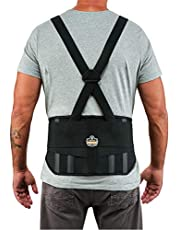 """Ergodyne ProFlex 1600 Back Support Brace, 9"""" Extended Support, High Cut Front For Mobility"""