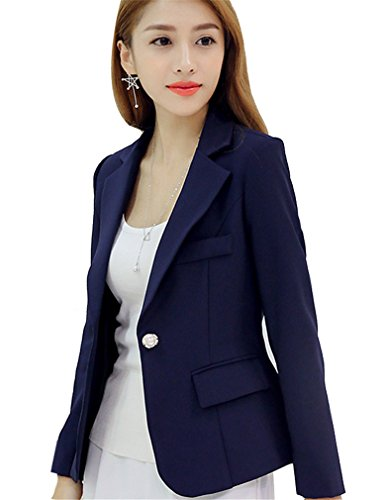 de4b9921813 HaoMing Long Sleeve Solid Color Casual Work Office Blazer Jacket for ...