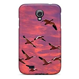 Flexible Tpu Back Case Cover For Galaxy S4 - Birds Skyscapes Geese Migration by supermalls