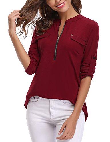 Zipper Shirt - iClosam Women's V-Neck Roll-Up Short Long Sleeve Zip Up Casual Shirt Blouse Tops