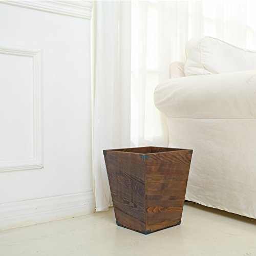 MyGift Dark Brown Torched Wood Design Waste Bin/Small Decorative Trash Can for Bedroom, Bathroom & Office by MyGift (Image #1)