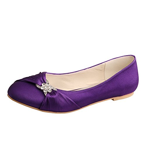 Wedopus Ballet Satin Pleated Women's MW757 for Toe Bride Shoes Purple Flat Wedding Closed rqXrp