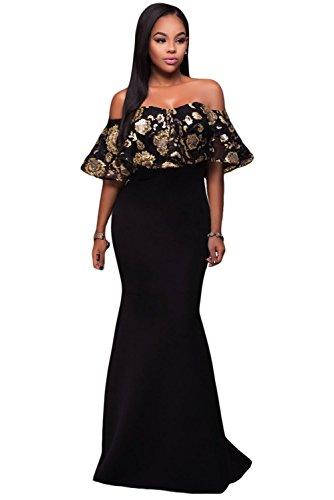 EZON-CH Women's Black Gold Sequins Ruffle Strapless Long Party Dress M