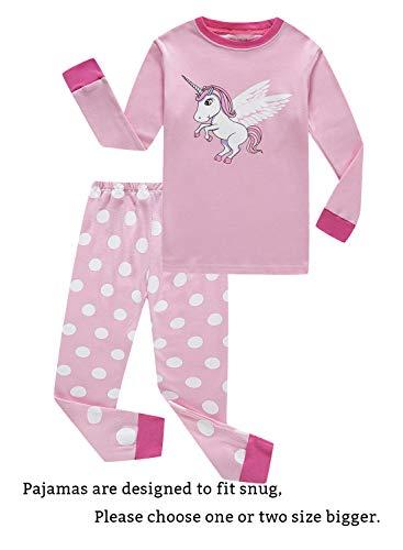 Unicorn Baby Girls Long Sleeve Pajamas Sets 100% Cotton Sleepwears Infant Kids Pjs Size 18-24 Months