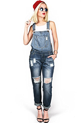 Machine Women's Juniors Distressed and Baggy Denim Overalls (L, Denim)