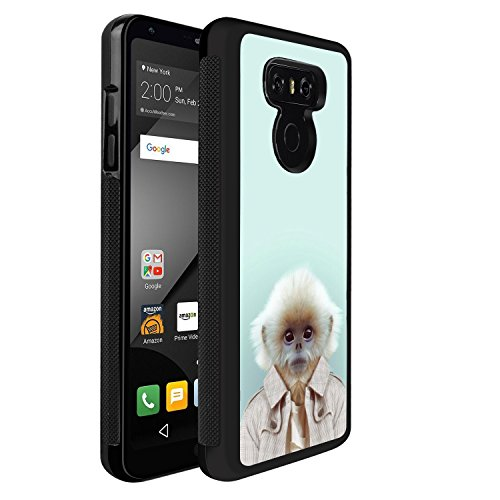 LG G6 Case With Funny Monkey Pattern Whimsical Design Bumper Black Soft TPU and PC Protection Anti-Slippery &Fingerprint Case For LG G6
