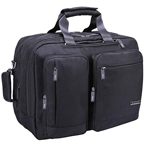 Convertible Computer Briefcase - Ronts Convertible Briefcase Backpack for Men Multifunction Messenger Bag 17.3 Inch Laptop Bag Waterproof Nylon Travel Bag Shoulder Daypack Black