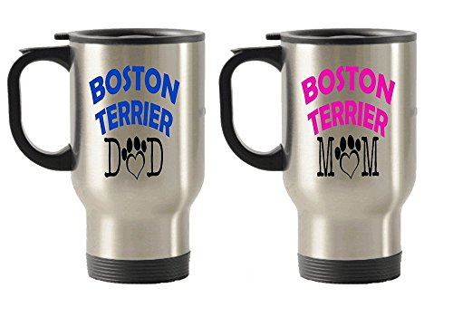 Boston Terrier Dad and Mom gift idea Stainless Steel Travel Insulated Tumblers Mug (Couple) (Chicago Themed Gift Baskets)