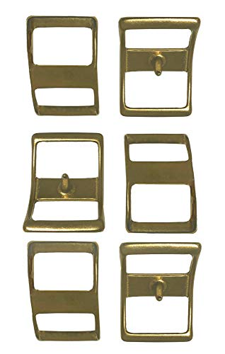 "Multi-Pack of #210 Solid Brass Conway Buckles, Pack of 6, Rust-Free, Ideal for Use On Pack Saddles and Tack, Or Any Application That Requires Strap Length Adjustment (3/4"")"