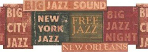 White Jazz Signs Wallpaper Border
