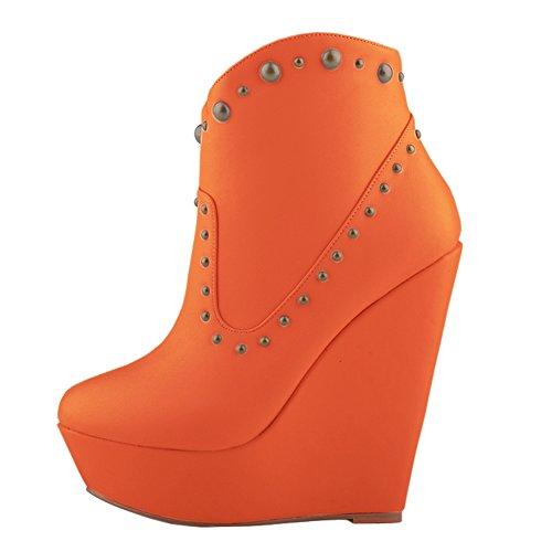LOSLANDIFEN Womens Rivet High Heels Boots Ankle Wedge Bootie Orange ENF8lVPI27