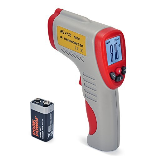 Infrared Thermometer, WELAISE Non-contact Digital Laser Temperature Gun, Range -58℉ to 1022℉ (-50℃ to 550℃), Red and Grey