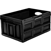 CleverMade CleverCrates Collapsible Storage Bin/Container: 32 Liter Solid Wall Utility Basket/Tote, Black