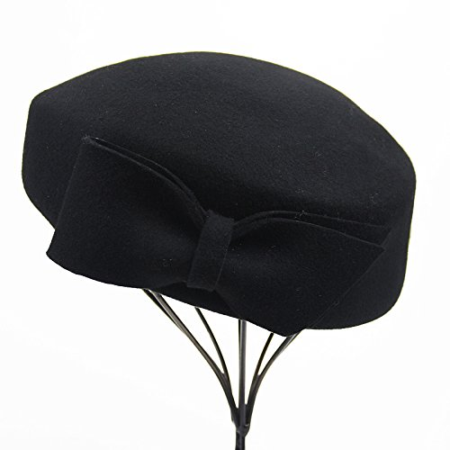 Wool bow small Hat Beret elegant fashion lady,black