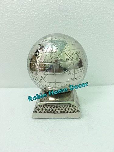 Ship Globe Decor Robin Exports Set 2-Antique Silver Finish Ship Glob Designe Book Ends 8 Nautical Decor