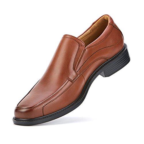 SEMANS Men's Dress Shoes Leather Loafer Square-Toe Slip On,Brown2,9.5 M US