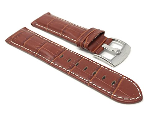 22mm Dark Tan Alligator Style Smartwatch Band Strap fits Motorola 360 (46mm Case), Samsung S3 Classic & Many More, Leather, White Stitch