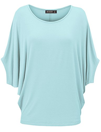 CTC WT1073 Womens Lightweight Scoop Neck Half Sleeve Batwing Dolman Top S AQUA