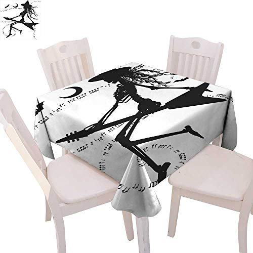 cobeDecor Music Washable Tablecloth Witch Flying on Electric Guitar Notes Bat Magical Halloween Artistic Illustration Waterproof Tablecloths 36