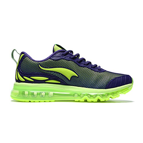 Onemix Air Cushion Running Shoes Men's Trainers Mesh Breathable Sneakers Lightweight Flexible Outdoor Sport Shoes Purple / Fluorescent green 7WFzUI