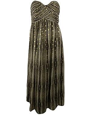 Calvin Klein Women's Full Length Sweetheart Animal Print Dress