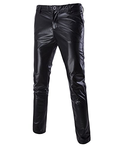 (Boyland Mens Casual Night Club Metallic Moto Jeans Style Flat Front Suit Pants/Straight Leg Trousers)