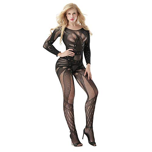 Sexy Erotic Sleeved Fishnet Lingerie Babydoll Teddy Body Catsuit Stocking Hen Party