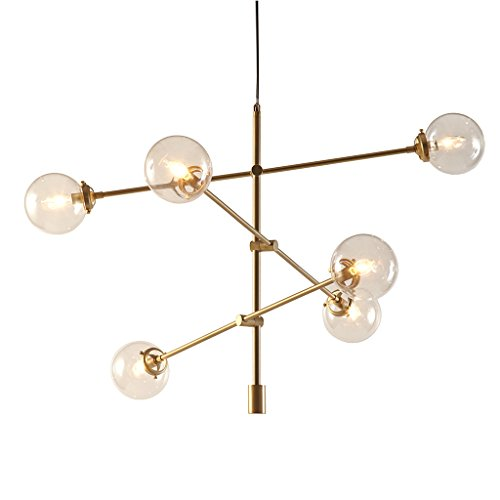 Ink+Ivy Cyrus Antique Brass Chandeliers - Metal, Glass Sputnik Dining Room Ceiling Light - Antique Brass, 6 Bulb Light Fixtures Ceiling - 1 Piece Hanging Room Lights Chandelier ()